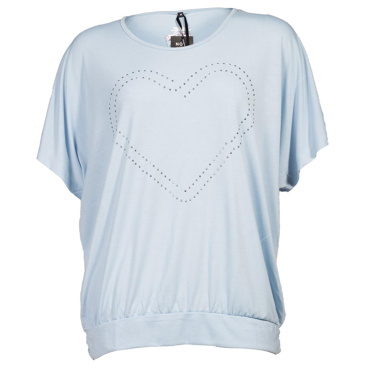 Lyseblå t-shirt med hjerte