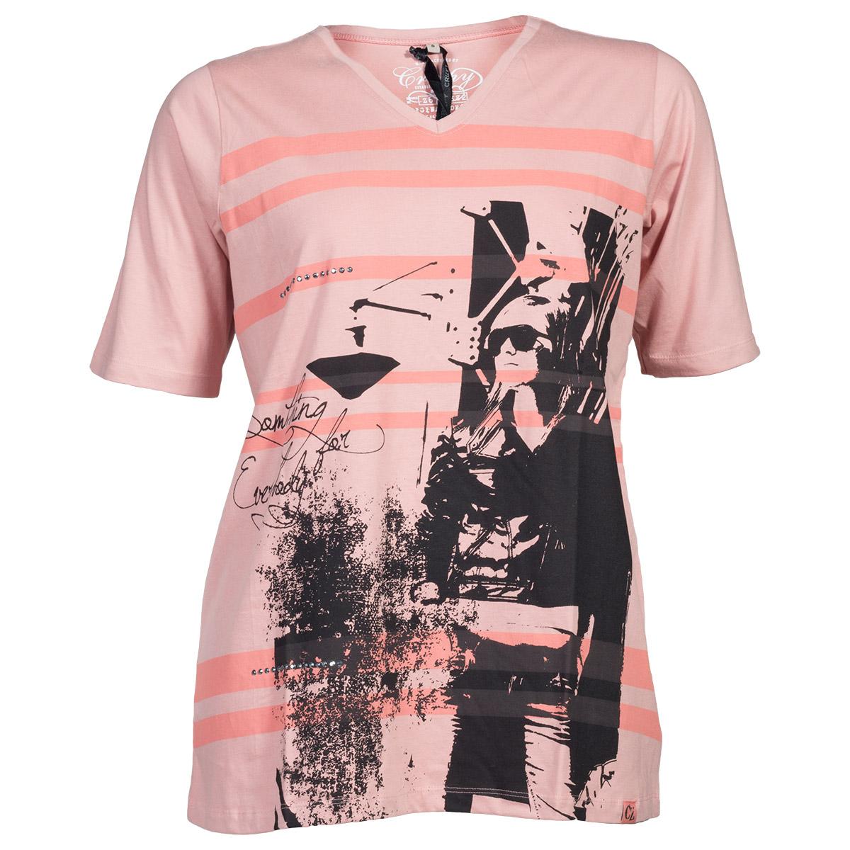Koral t-shirt print og rhinsten