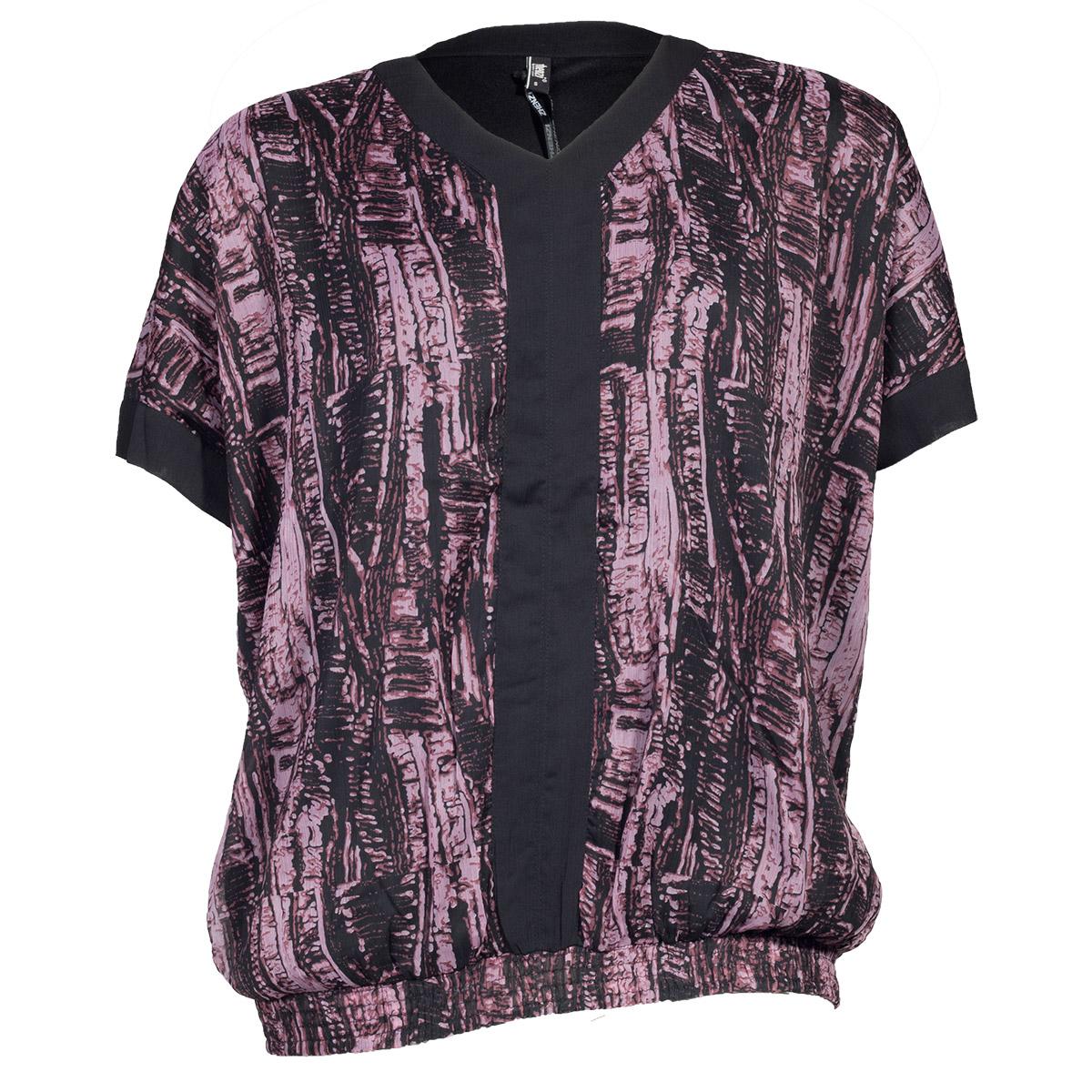 Lyng/ sort bluse med korte ærmer