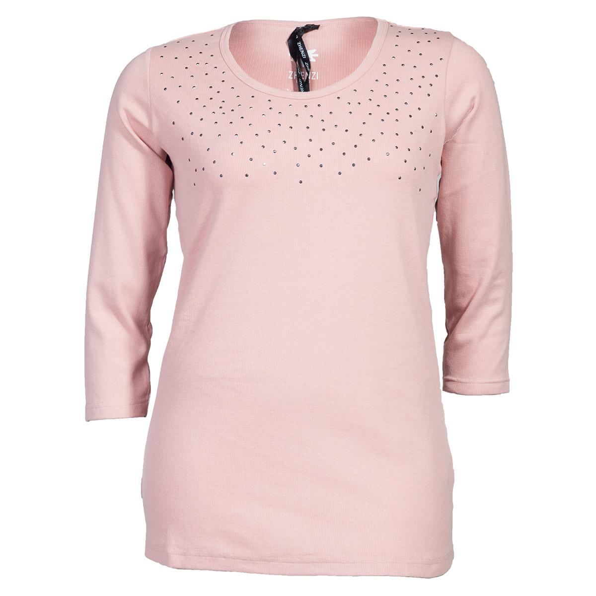 Rosa bluse med 3/4 ærmer