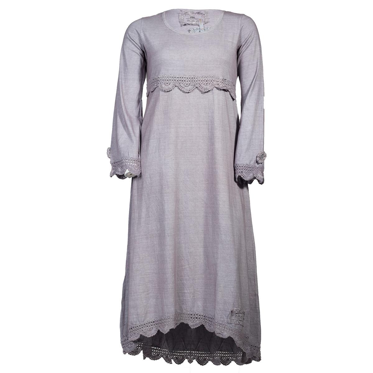 Grå maxi kjole med hæklede detaljer