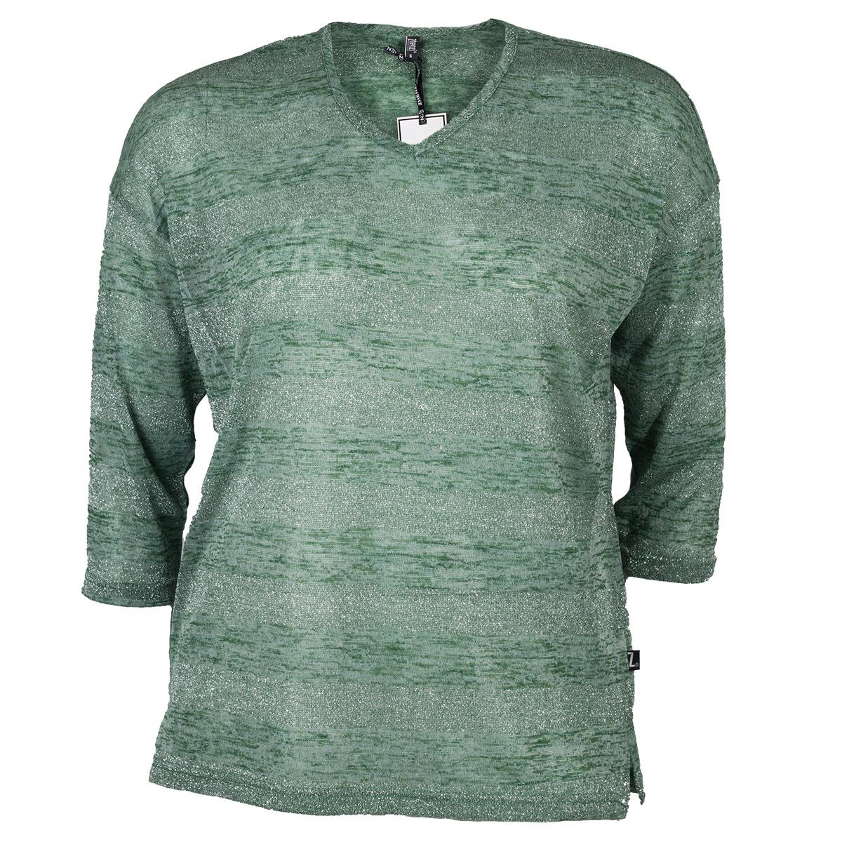 Sølv/ glimmer grøn strik bluse