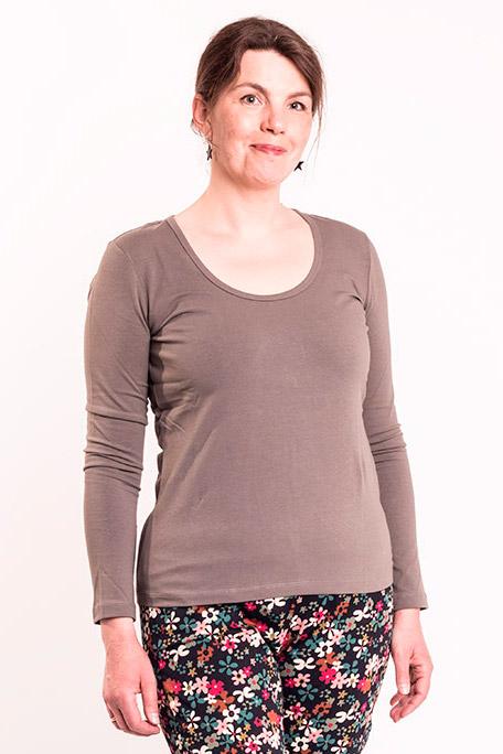 Oliven basis t-shirt med lange ærmer