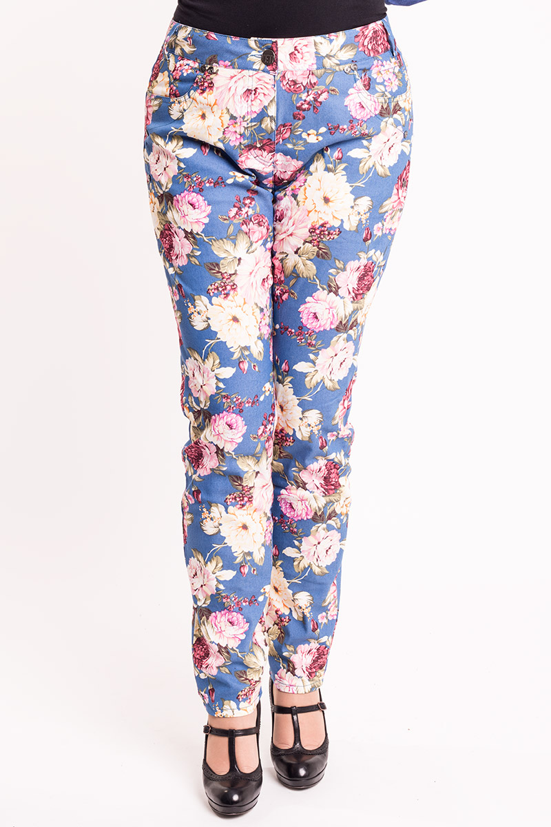 Blå bukser med smukke blomster