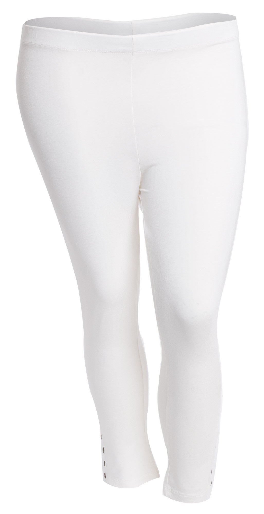 Capri leggings med knapper off-white