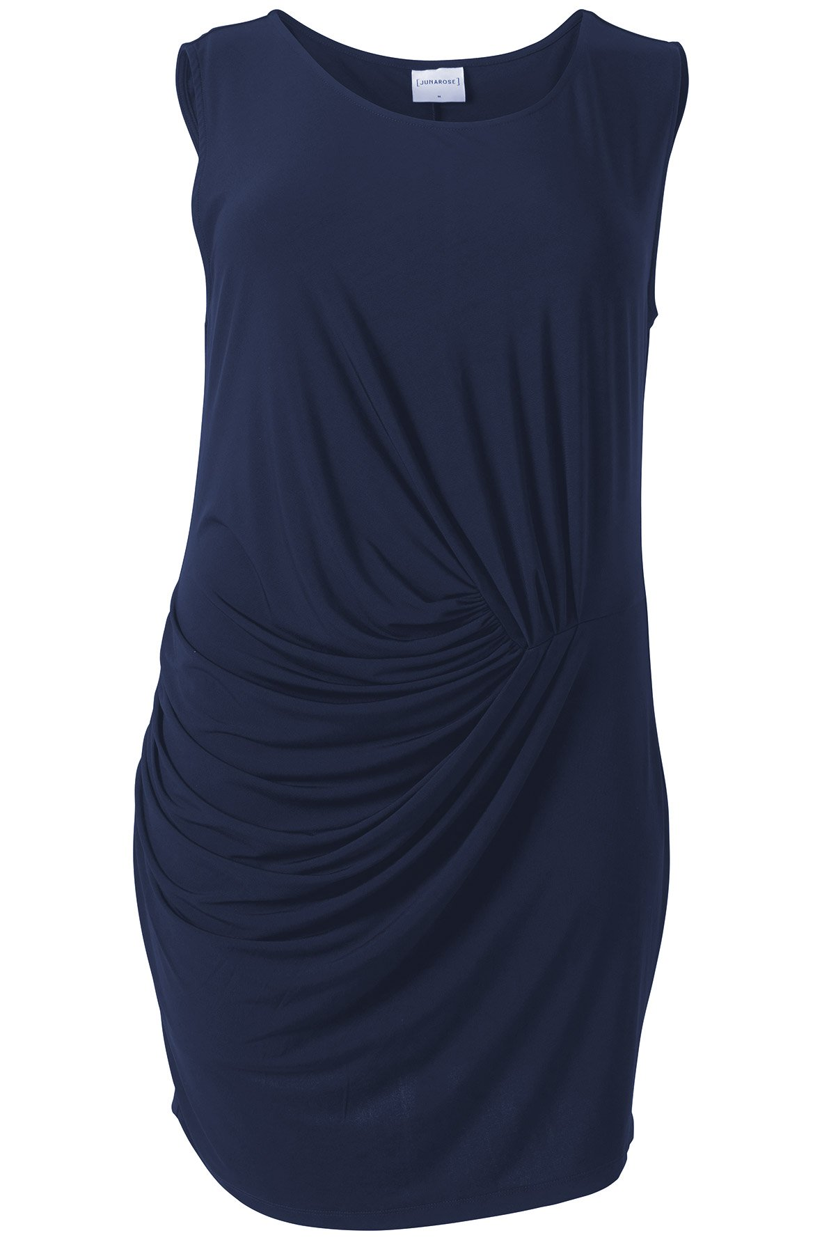 Smuk marineblå kjole med læg og draperinger