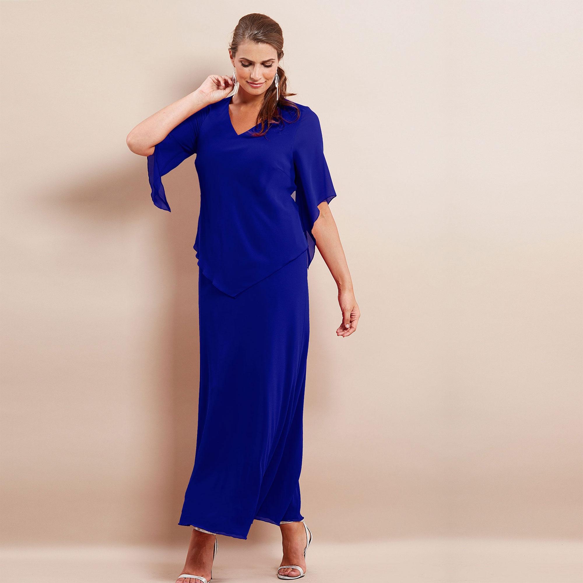 Lang, blå chiffon kjole