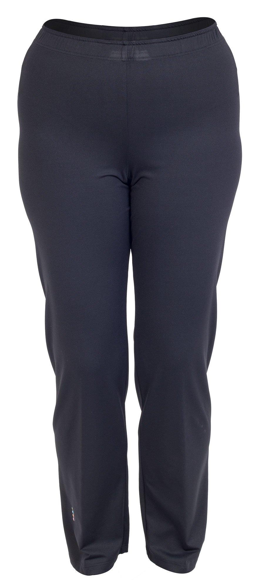 Lange sorte fitness bukser i store størrelser
