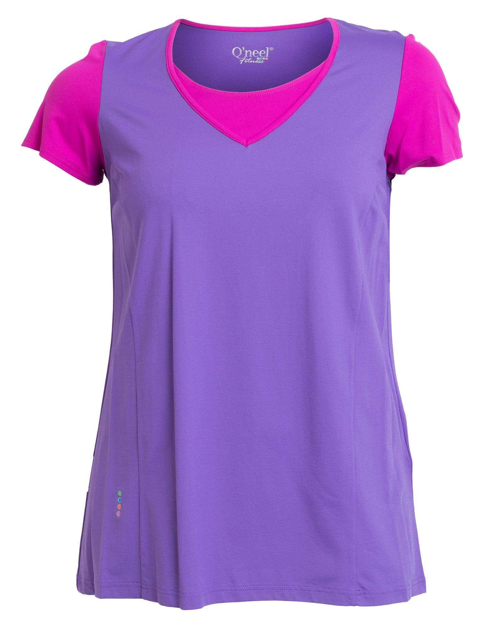 T-shirt til fitness i lilla og magenta