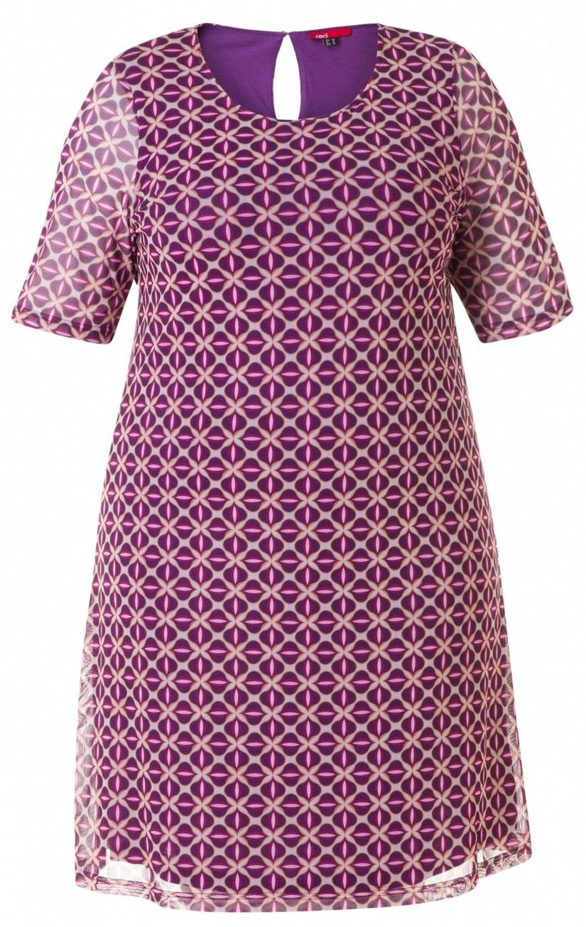 Sød chiffon kjole med lilla mønster og fast underkjole