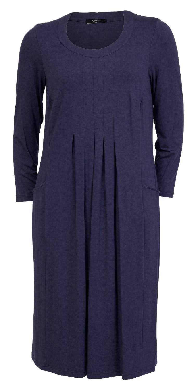 Lang mørk lilla maxi kjole med læg og lommer