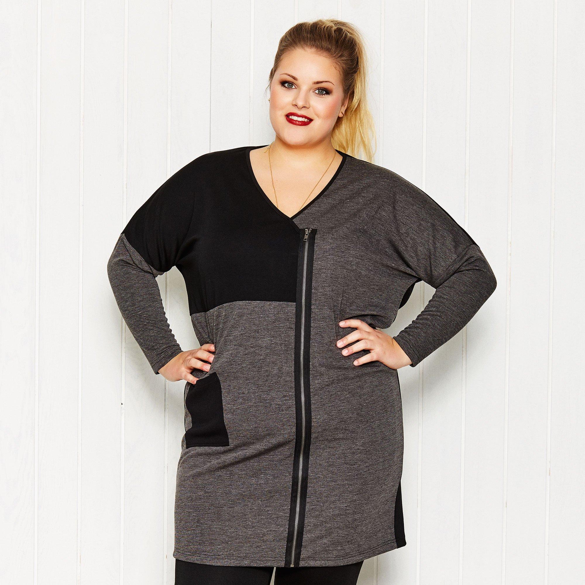 Sort og grå tunika kjole asymmetrisk med pynte lynlås