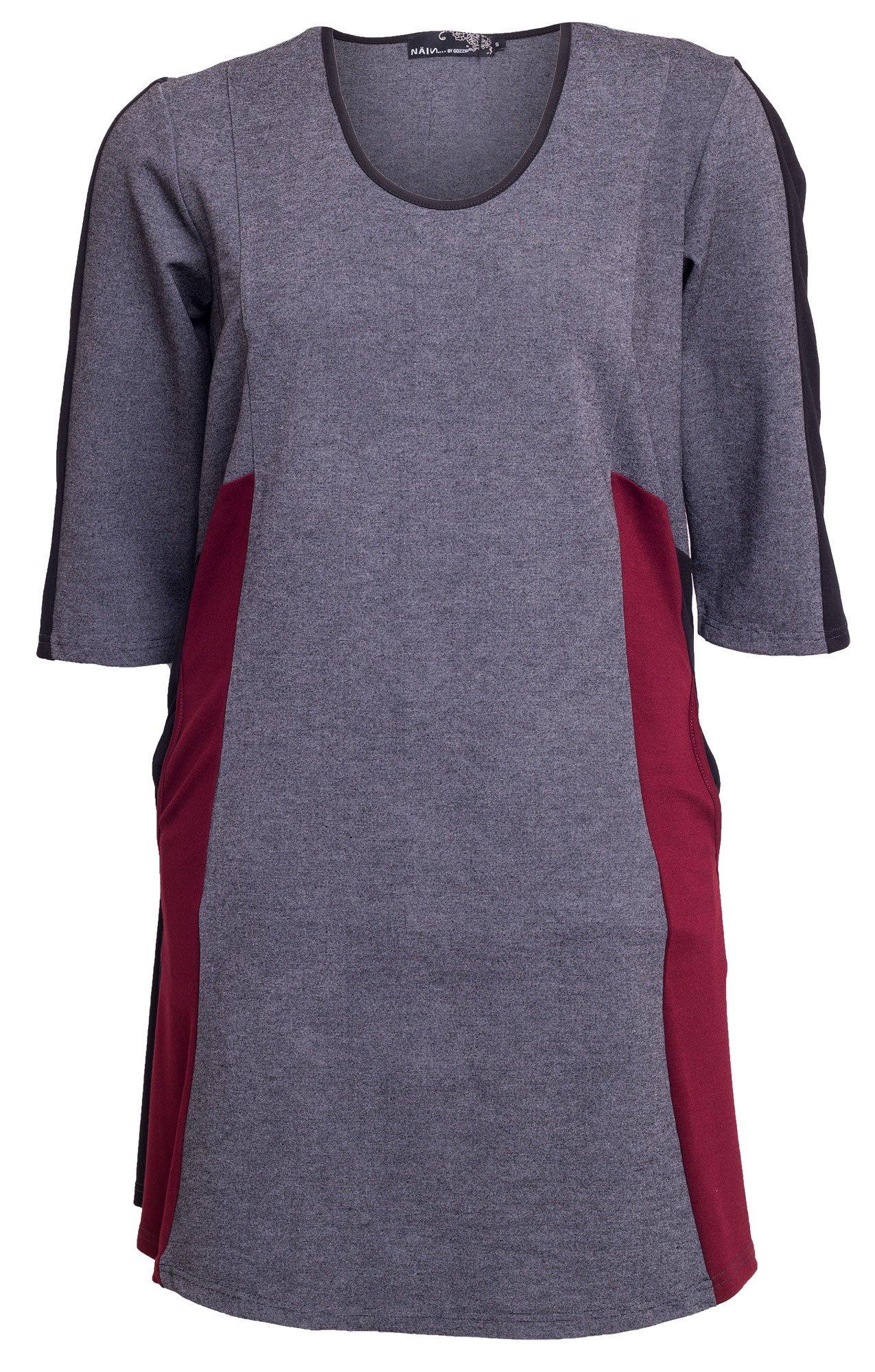 Grå kjole med sorte og røde detaljer og 3/4 ærmer