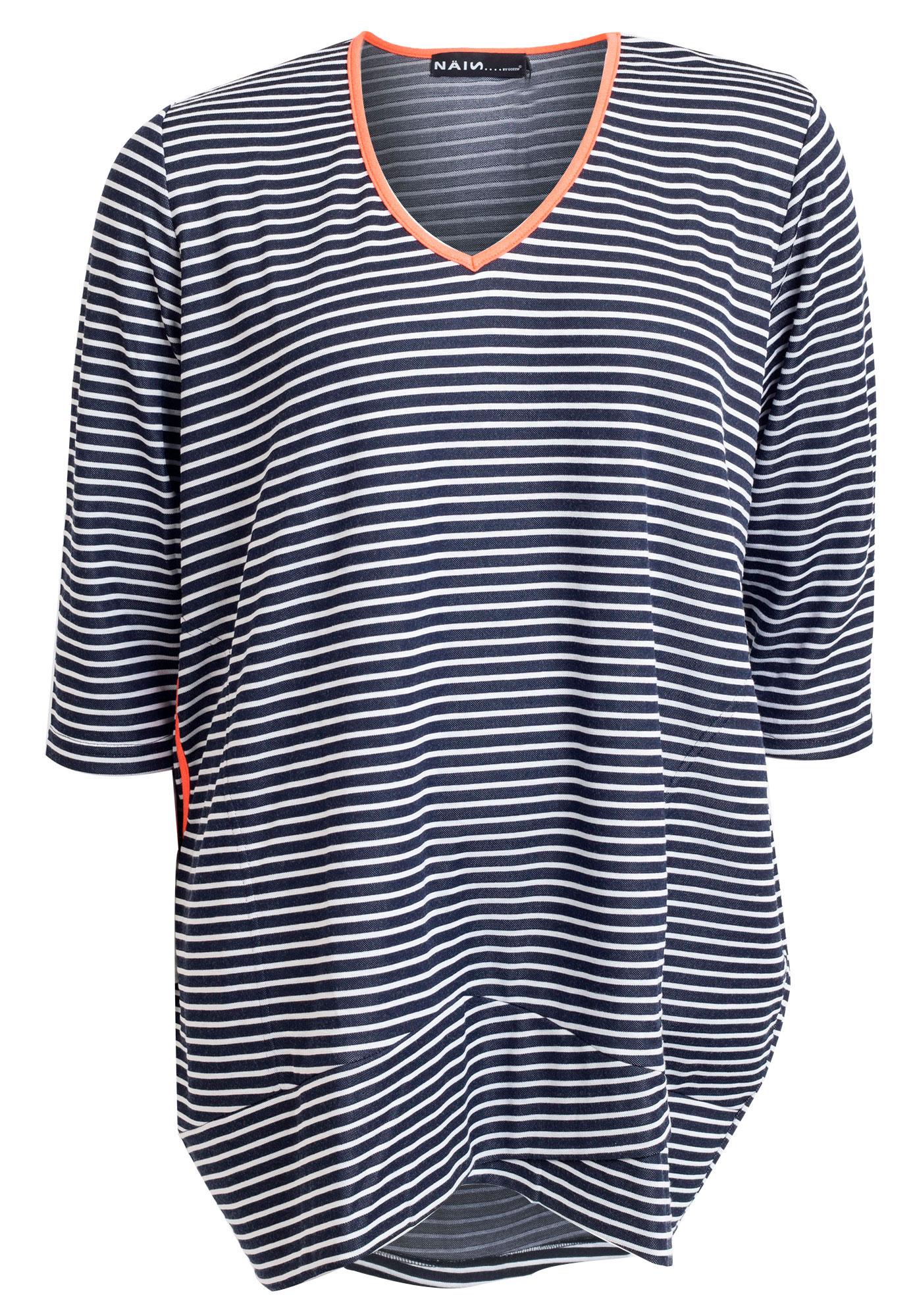 Marineblå tunika / kjole med hvide striber og orange kontrast