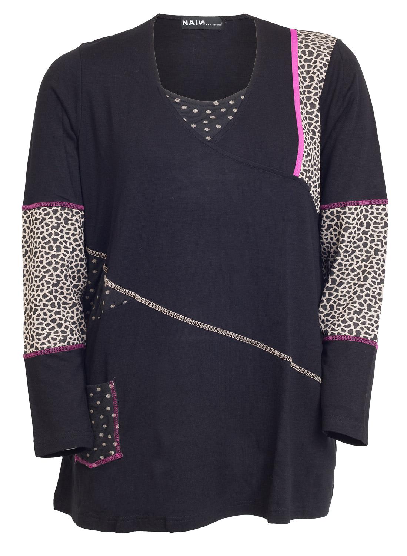 Sort bluse med dyreprint og polkadots