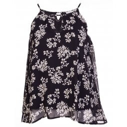 Sort chiffon top med blomsterprint