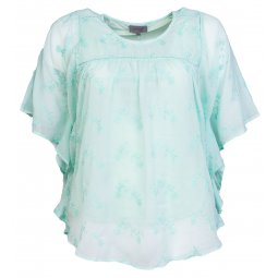 Lys turkis chiffon bluse med flagermus ærmer