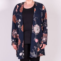 Marineblå cardigan med blomsterprint