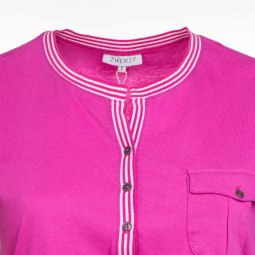 Magenta bomulds t-shirt med sporty look