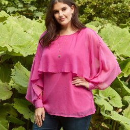 Bluse med fast indertop i pink chiffon