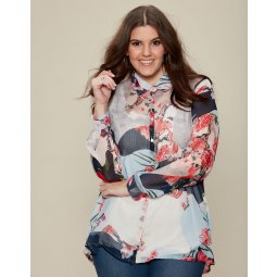 Let-transparent chiffon skjorte med blomsterprint