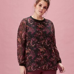 Sort chiffonbluse med blomster