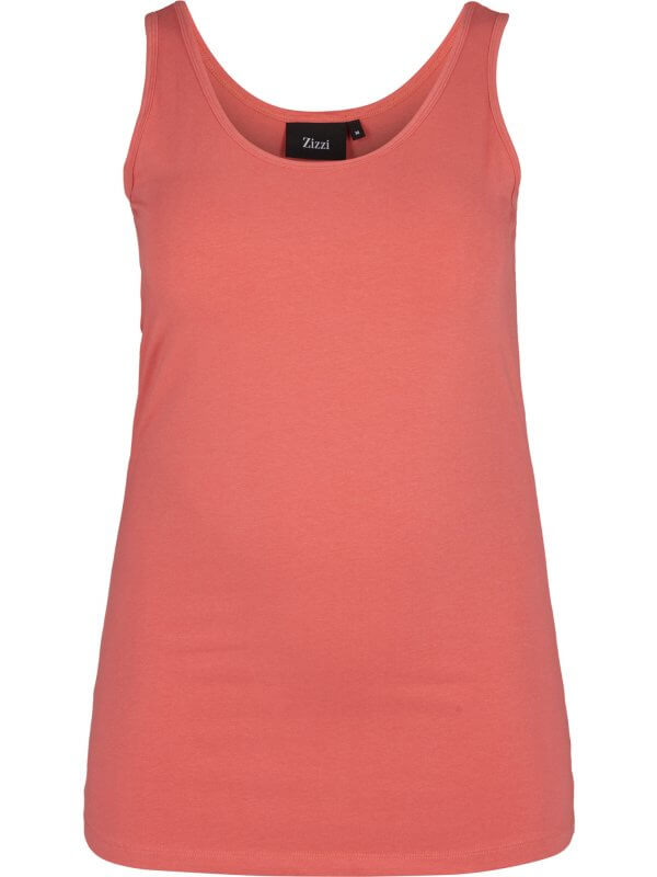 Rosa basis top i bomulds jersey fra Zizzi