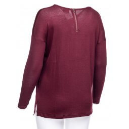 Bordeaux bluse i let strik