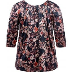 Sort velour bluse med blomsterprint