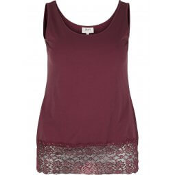 Bordeaux tank top med blonder