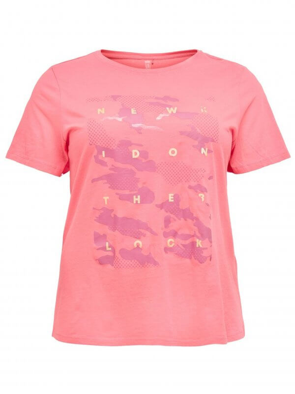Pink trænings t-shirt med camouflageprint fra Only Play Curvy