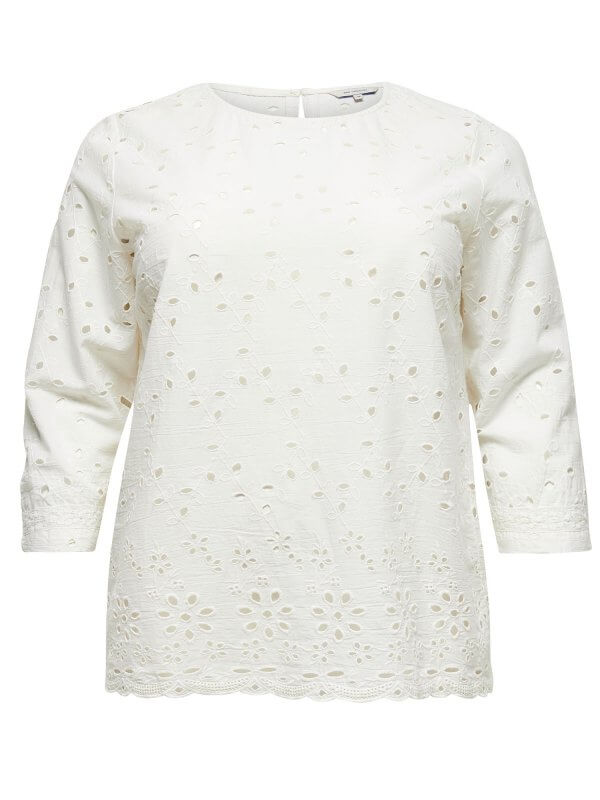Hvid broderie anglaise bluse  fra Only Carmakoma