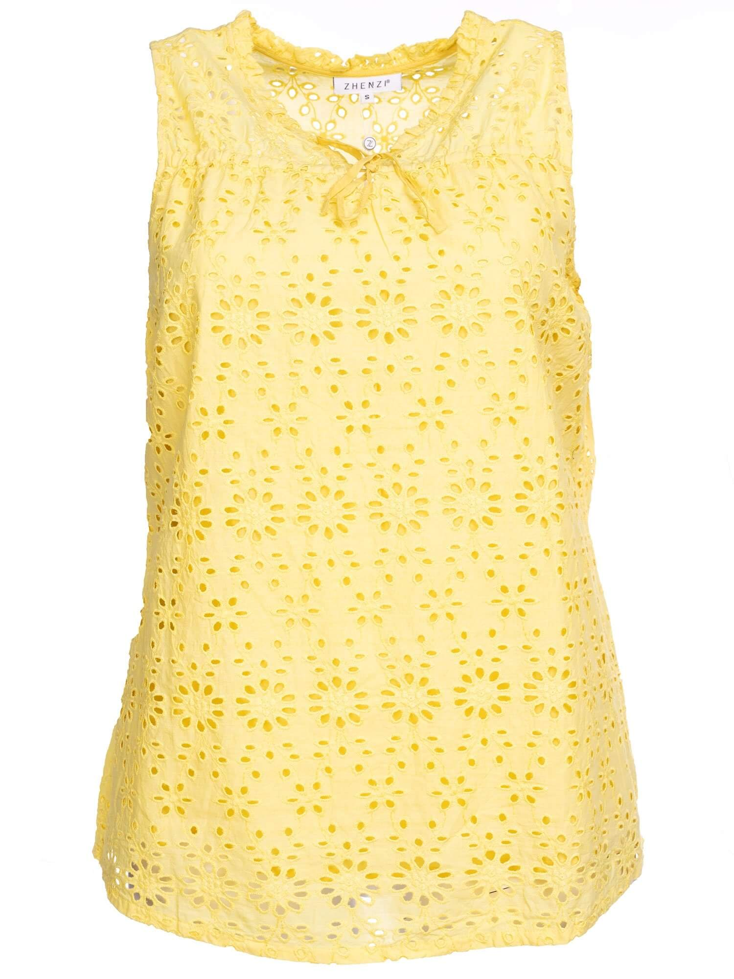 Gul broderie anglaise top