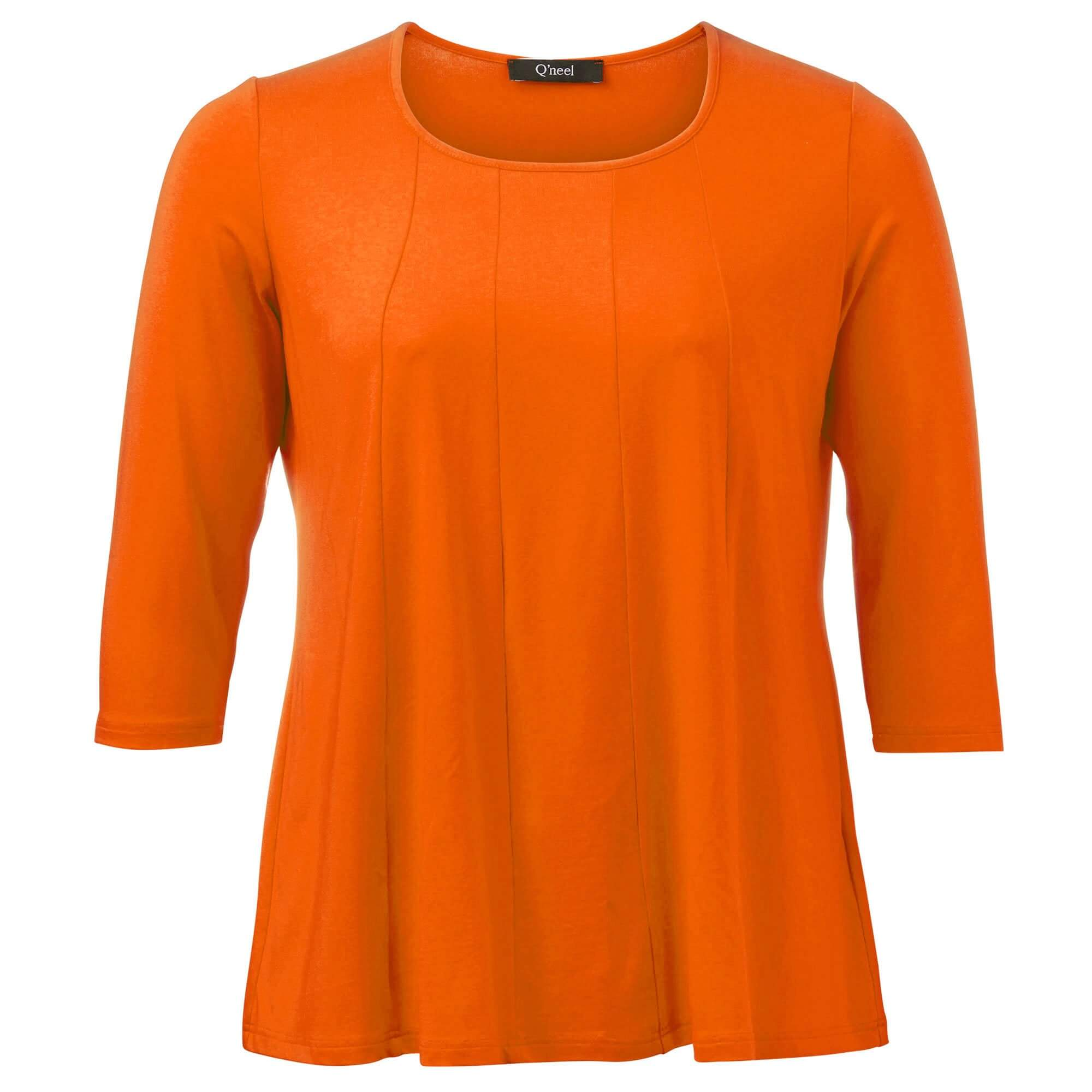 Orange jersey bluse med 3/4 ærmer