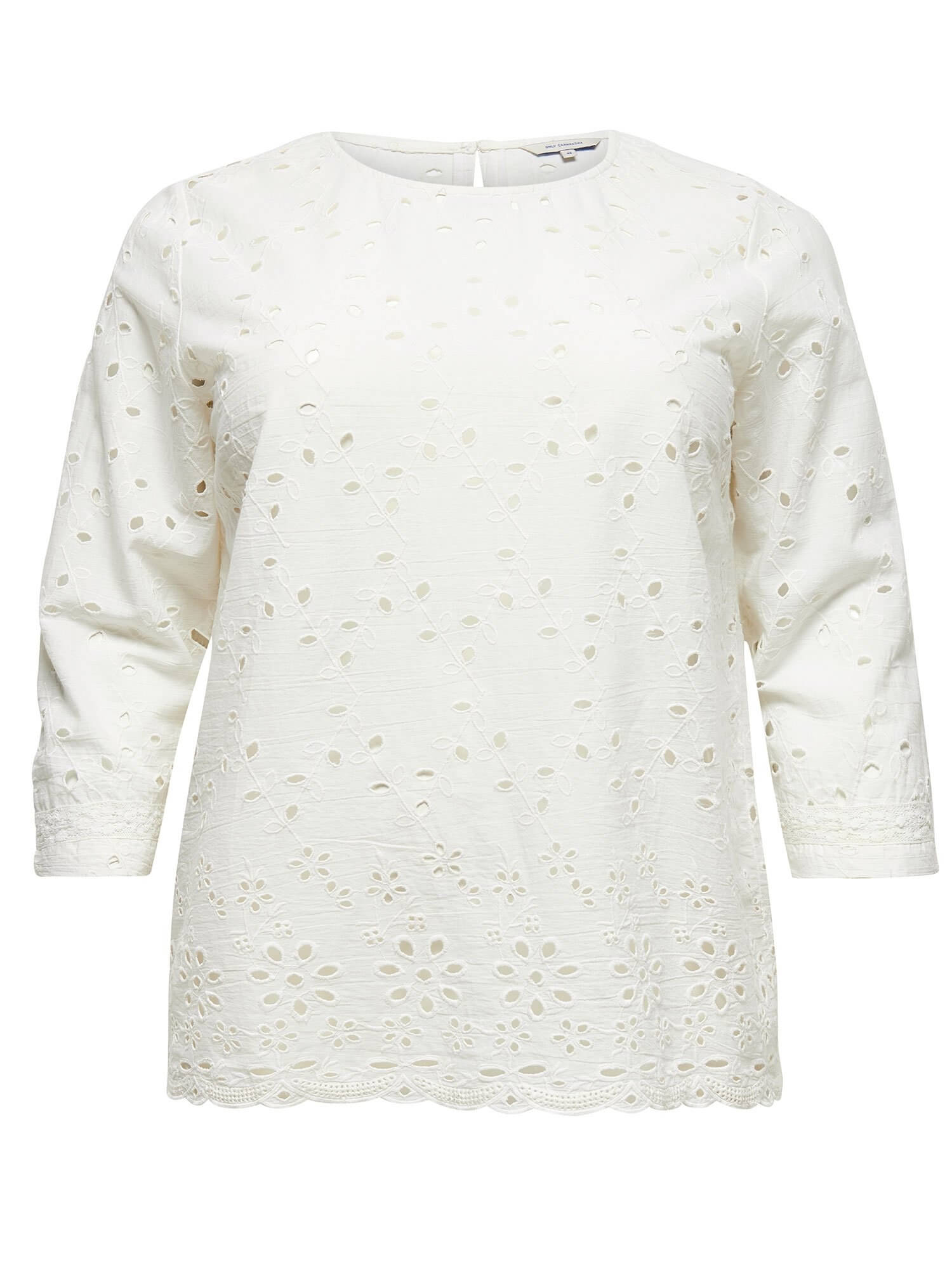 Hvid broderie anglaise bluse