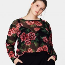 Let transparent bluse med blomsterprint