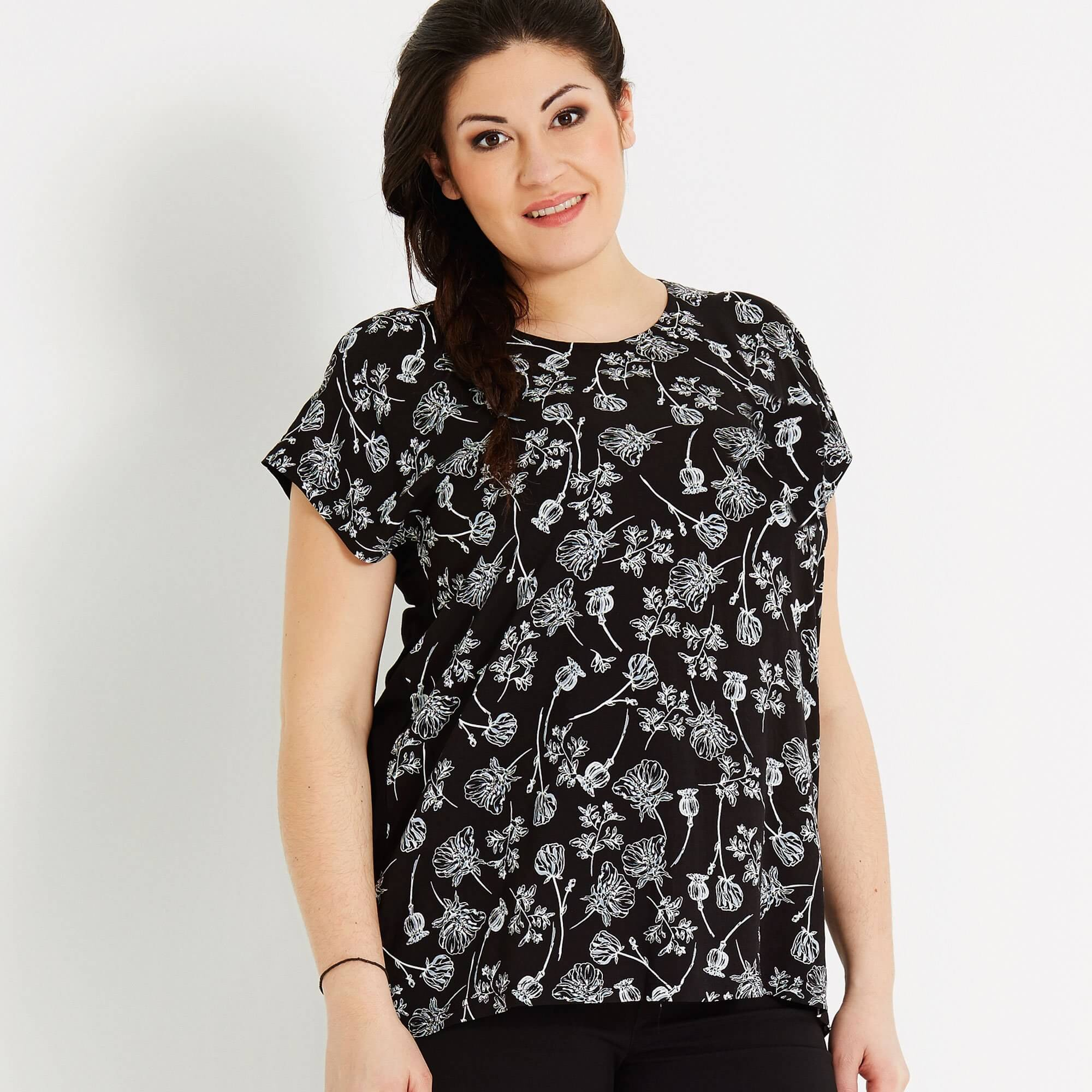 Sort viskose bluse med blomsterprint