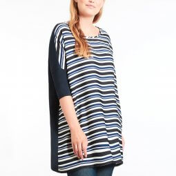 Let oversize tunika med stribet front