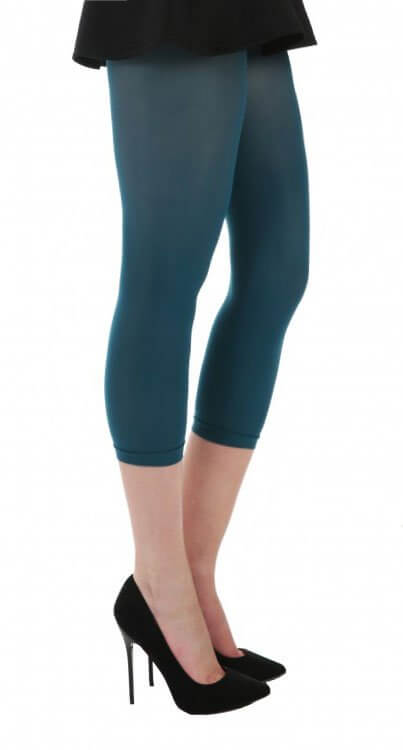 Petroleumsblå capri leggings, 50 denier