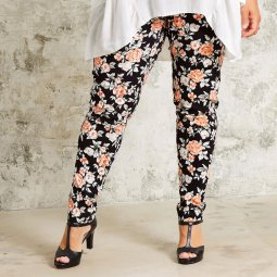 Sorte leggings med blomsterprint