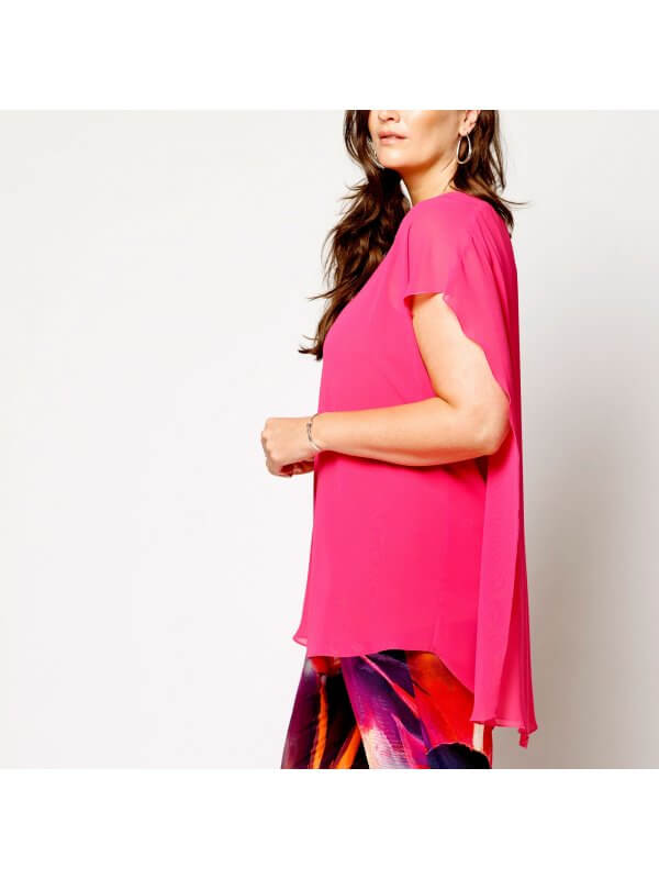 Pink chiffonbluse med jersey undertop fra Qneel