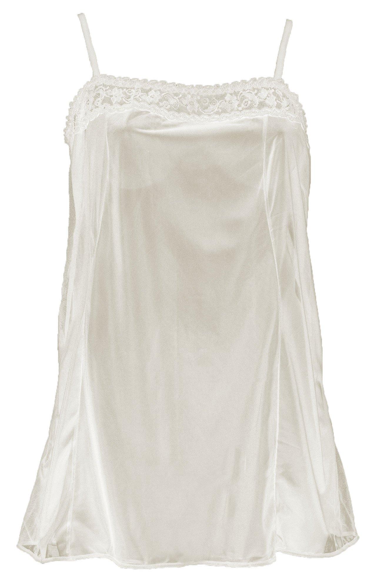 Plaisir Råhvid chemise med blonde og justerbare stropper, 42 / M