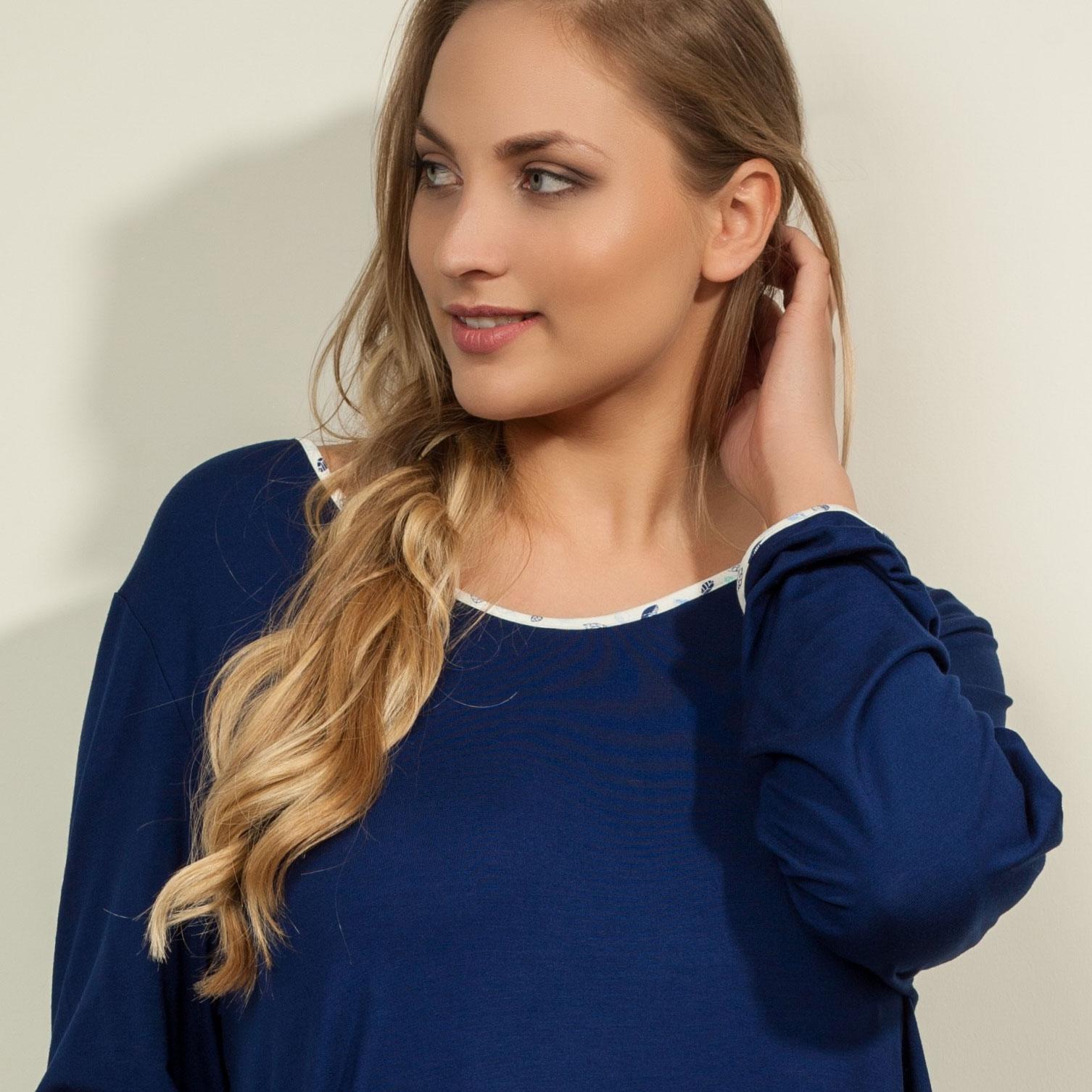 Blå lang bambus nattrøje / kjole