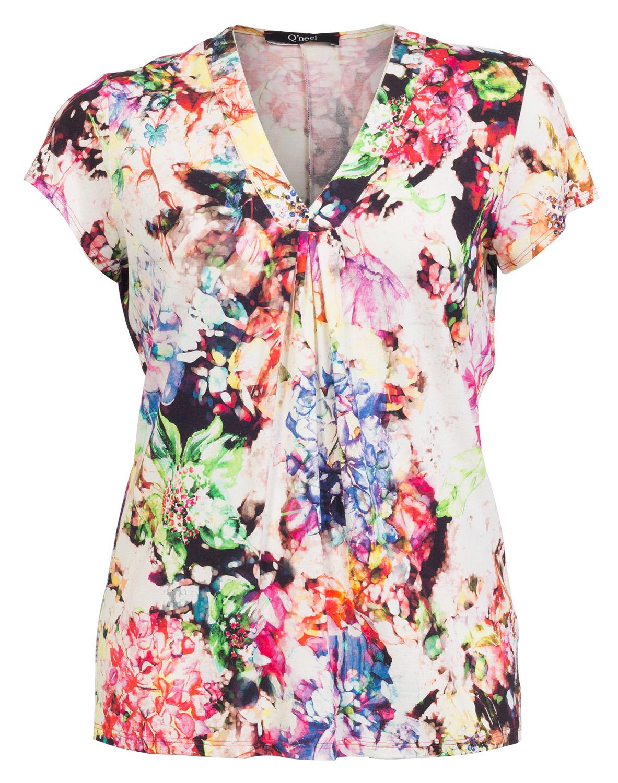 Kortærmet bluse med smukke farver
