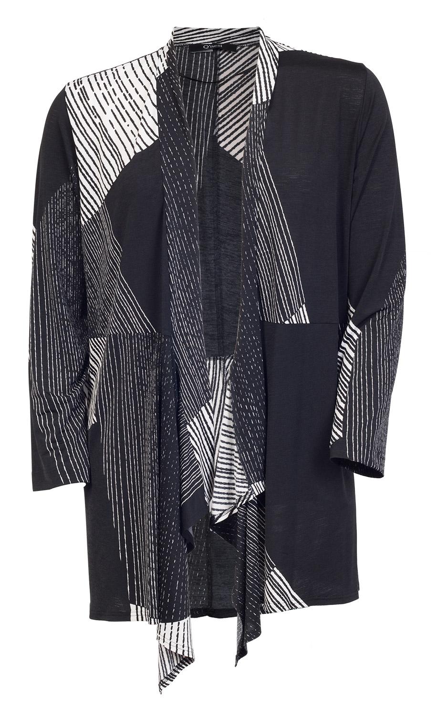 Flot selskabs jakke med sort hvid grafisk mønster