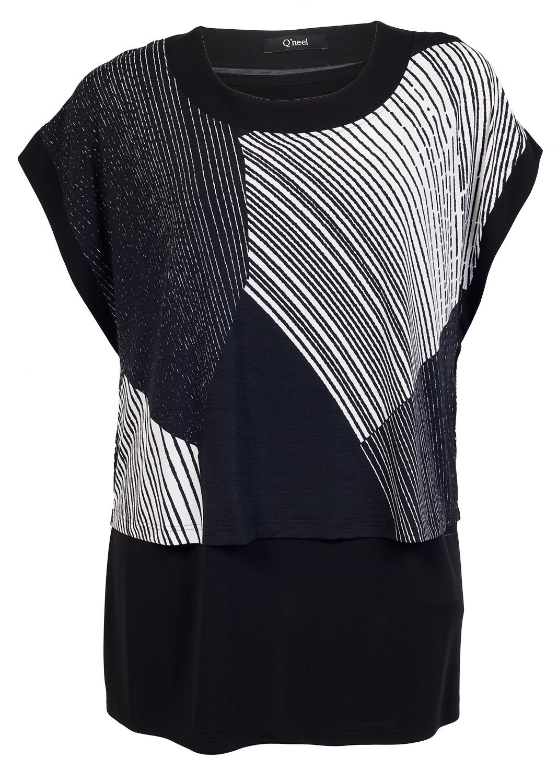 Lang todelt bluse i sort og hvid