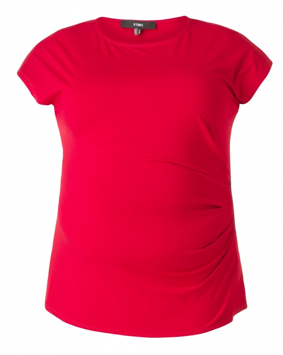 Rød kortærmet bluse med læg og lynlås