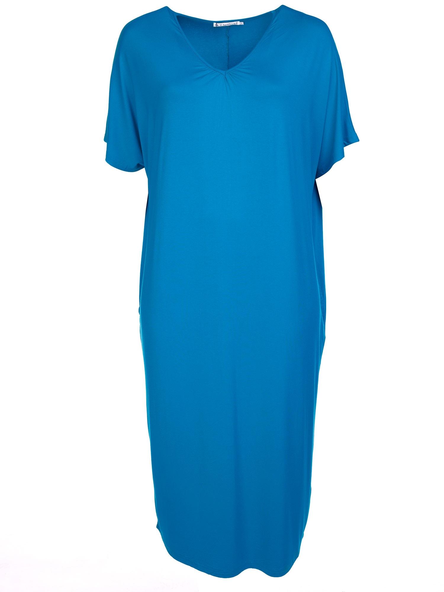 lang konge blå kjole i viskose jersey med lommer og V-hals