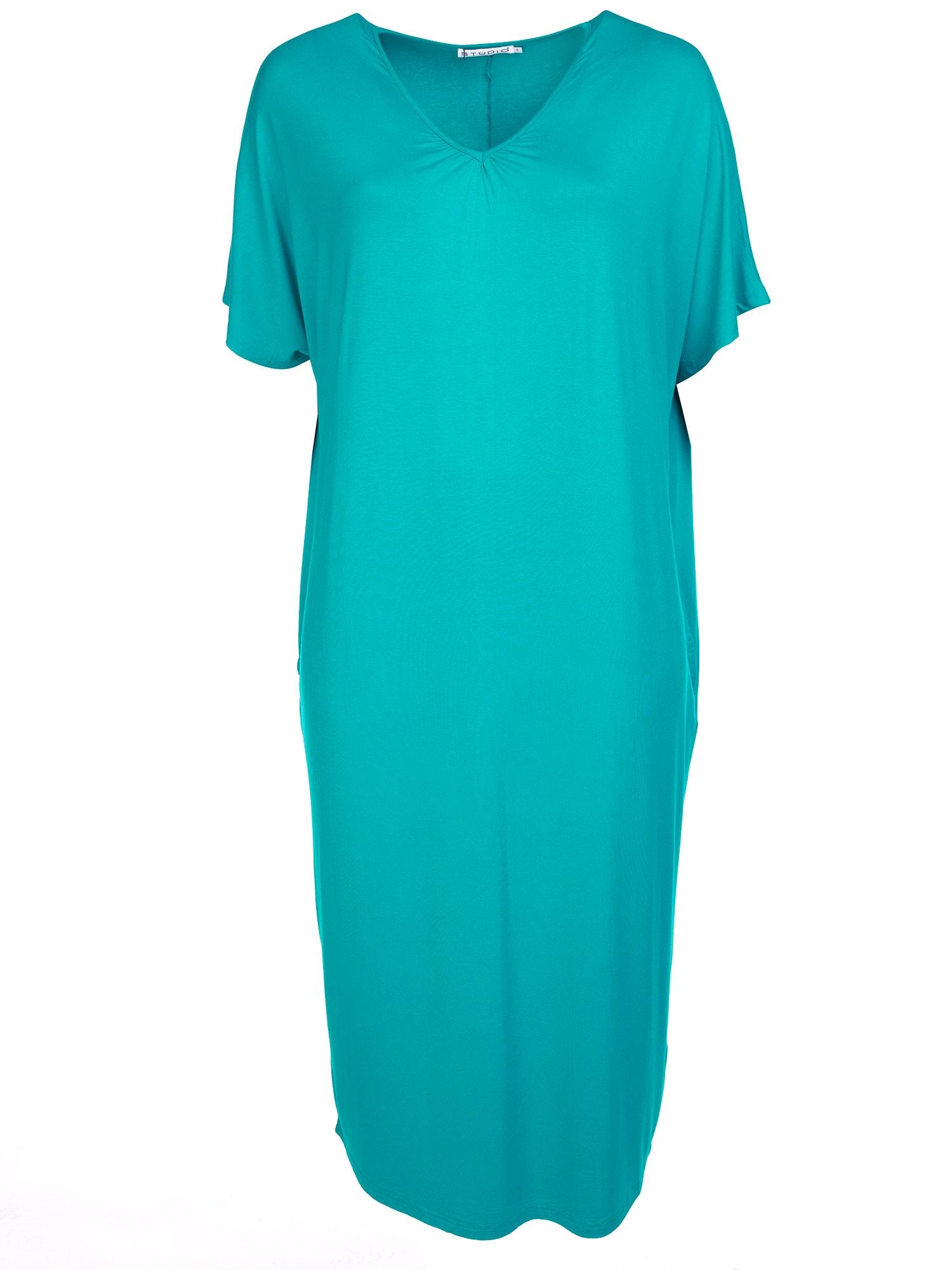 Lang turkis jersey kjole med lommer og V-hals