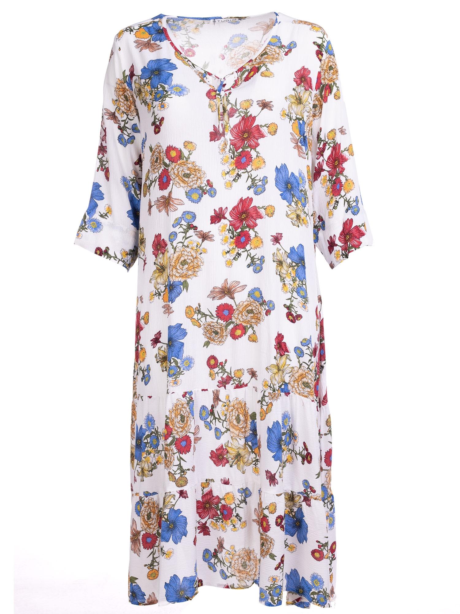 Studio Lang hvid kjole i med blomsterprint i crepet viskose, 54-56 / XL